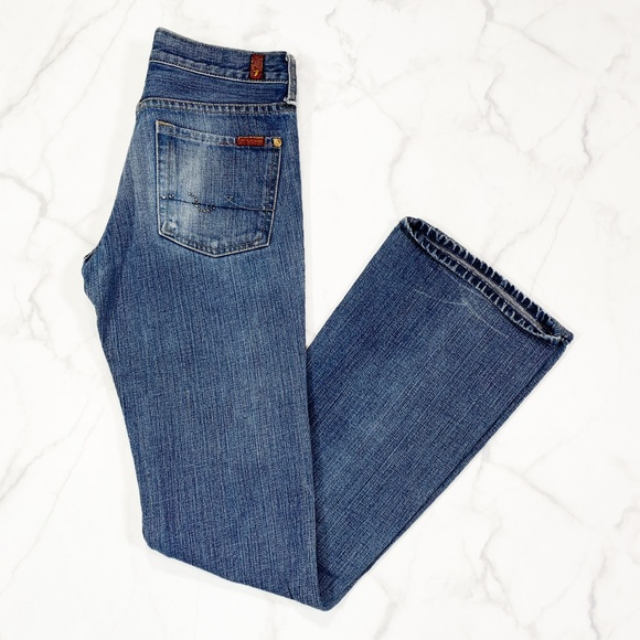 """7 For All Mankind Denim - 7 For All Mankind Flare Distressed Jean 32"""" Inseam"""